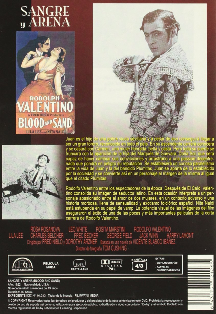 Amazon.com: Sangre Y Arena (Rodolfo Valentino) (Import Movie ...