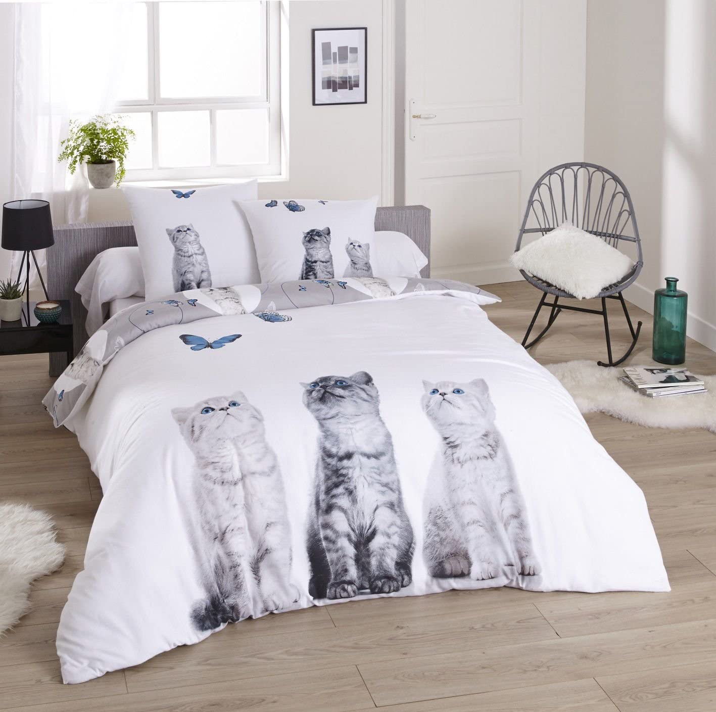 Funda nórdica de franela 100% algodón – tres gatos 200 x 200 cm + ...