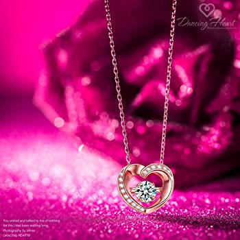 ❤️ Pendant Necklace Real 925 Silver Heart Rose Gold Women/'s Gifts