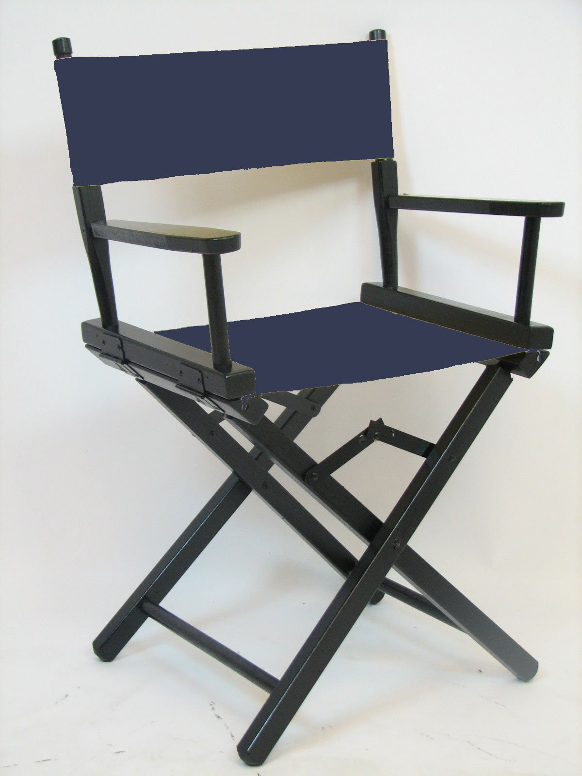 Gold Medal 18'' Table Height Black Frame Directors Chair (Navy Blue) by Gold Medal