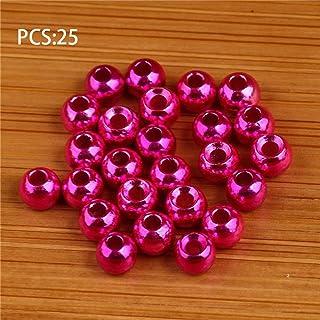 Delicacydex 25pcs Tungsten scanalato Fly Tying Testa Perline Nymph Head Ball Beads Fly Tying Materiali 3.8mm - Rosa - 3.8mm