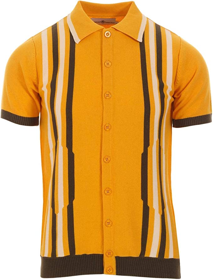 Mens Vintage Shirts – Casual, Dress, T-shirts, Polos Madcap England Shockwave Mens Retro Mod 60s 70s Short Sleeve Knitted Polo Cardigan MC488 £34.99 AT vintagedancer.com