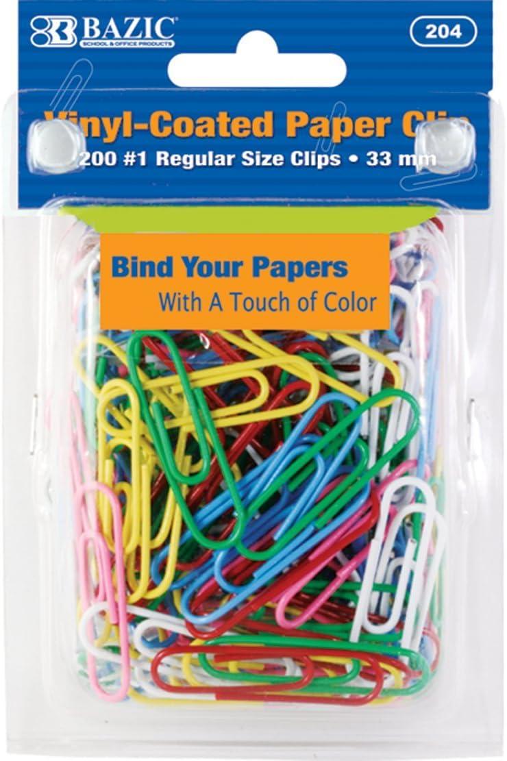 200 Per Pack Assorted 33 mm BAZIC No.1 Regular Color Paper Clips