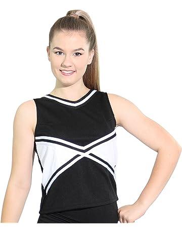 886daac0a538 Danzcue Womens 2-Color Kick Sweetheart Cheerleaders Uniform Shell Top