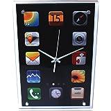 Wanduhr Bürouhr 37x26cm Smartphone Look modern Apps Tablet Uhr Jugendzimmer