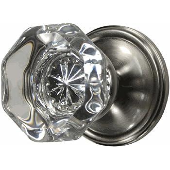 Providence Octagon Crystal Door Knob Set With Victorian