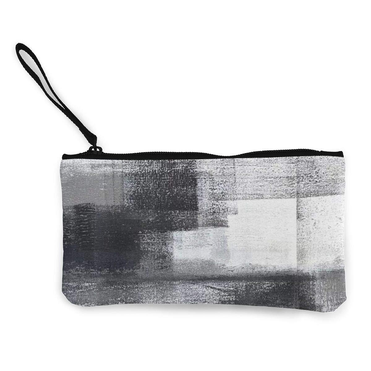 TR7FD15DE Mottled Zipper Canvas Coin Purse Wallet Cellphone Bag With Handle Make Up Bag