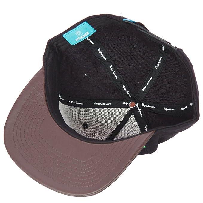 King Signature Pinch Panel Black Brown Leather Peak Snapback Hat Cap