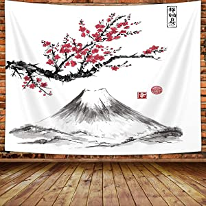 MERCHR Japanese Tapestry, Cherry Blossom Mount Fuji Anime Oriental Red Art Decor Tapestry Wall Hanging, Tapestries for Bedroom Living Room Bedding Dorm Home Decorations,60X40inches
