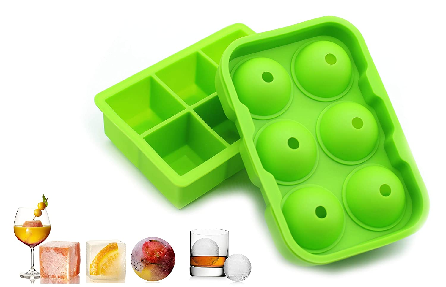 2 Pack Large Silicone Ice Cube Trays Molds, Square and Round Ball Ice Maker, Flexible Easy Release Stackable BPA-Free FDA-Approved Dishwasher Safe Ice Mold for Whiskey Cocktail Beverages Chilled Drink