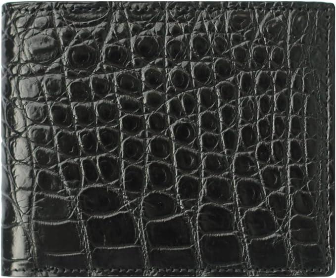 REAL Crocodile Alligator Belly Skin cuir chéquier long Brun Foncé Portefeuille