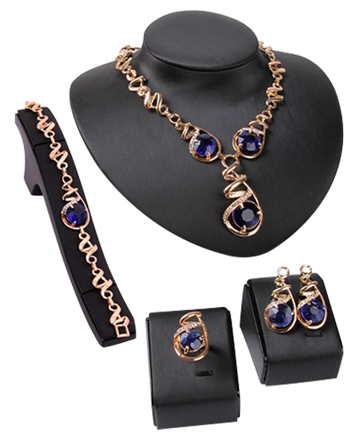 Young & Forever Elite Mesmerizing Prom Wedding Overgild Gold Plated Blue Crystal Jewelry Sets Necklace Earrings Bracelet Ring Set for Women / Girls stylish party wear N670