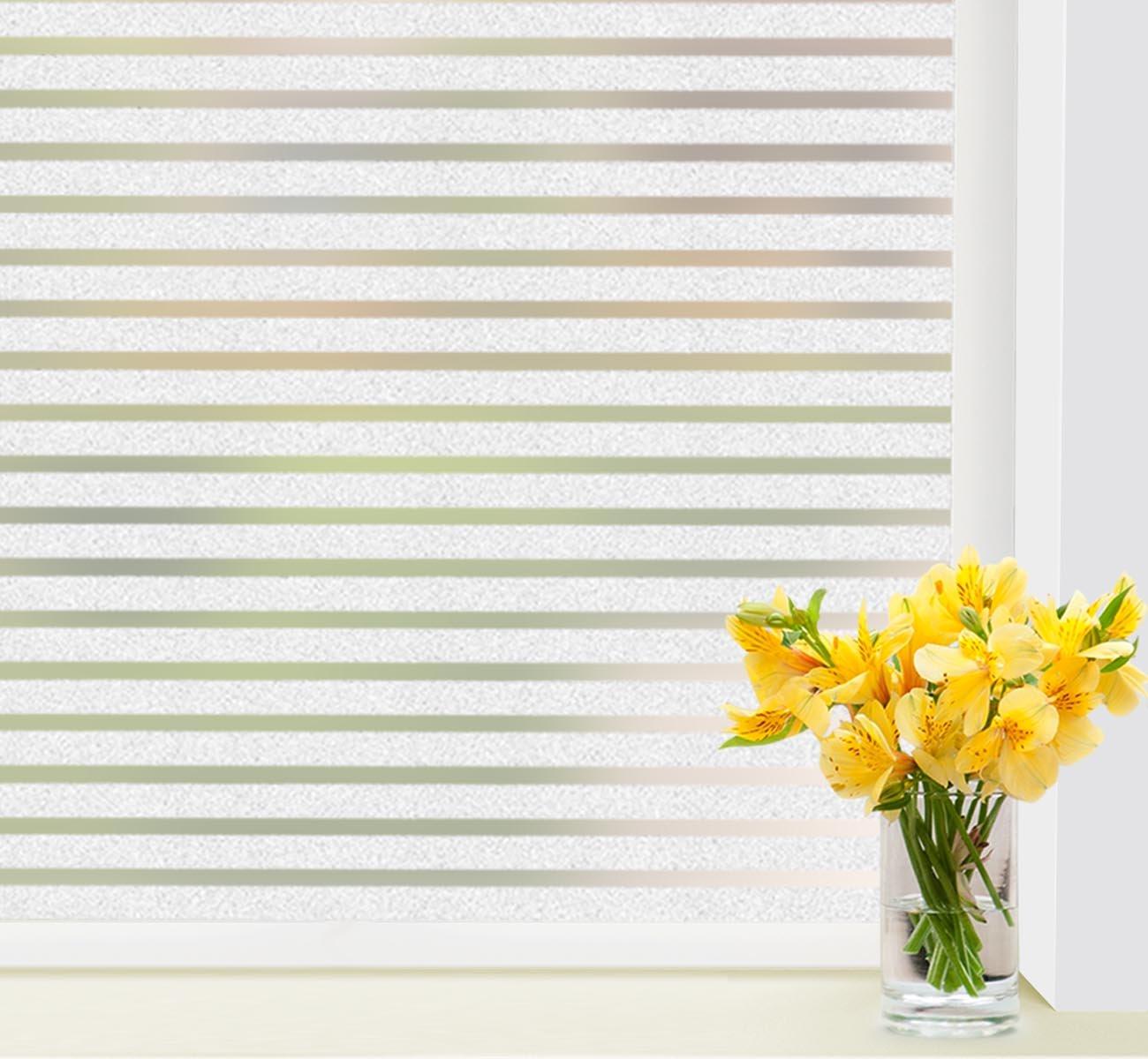 1Plusselect Pellicola Finestra Pellicola Protettiva senza colla 43x 300cm Anti UV statico in vetro smerigliato pellicola strisce adesivi per finestra per casa camera da letto Cucina Ufficio