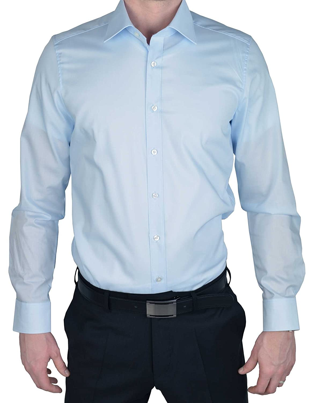 Cl/ásico B/ásico para Hombre Marvelis Camisa Formal Manga Larga