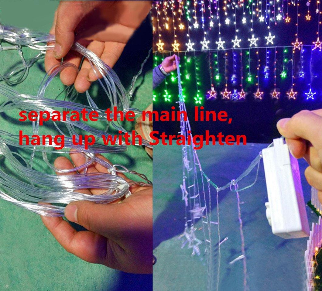 LED Sternenvorhang mit USB-Stecker 138 LED-Lichter Fernbedienung Schaltuhr 8 Modus Weihnachtlicher Lichtervorhang Lichterkette Stern Weihnachtsdekoration Dekolicht (mehrfarbig)