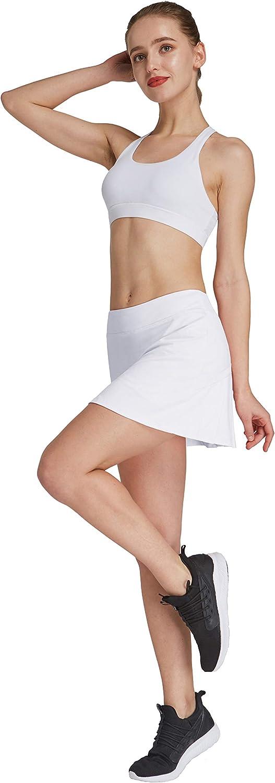 HonourSport - Falda de tenis para mujer con mallas deportivas, tallas XS - XXL Blanco S