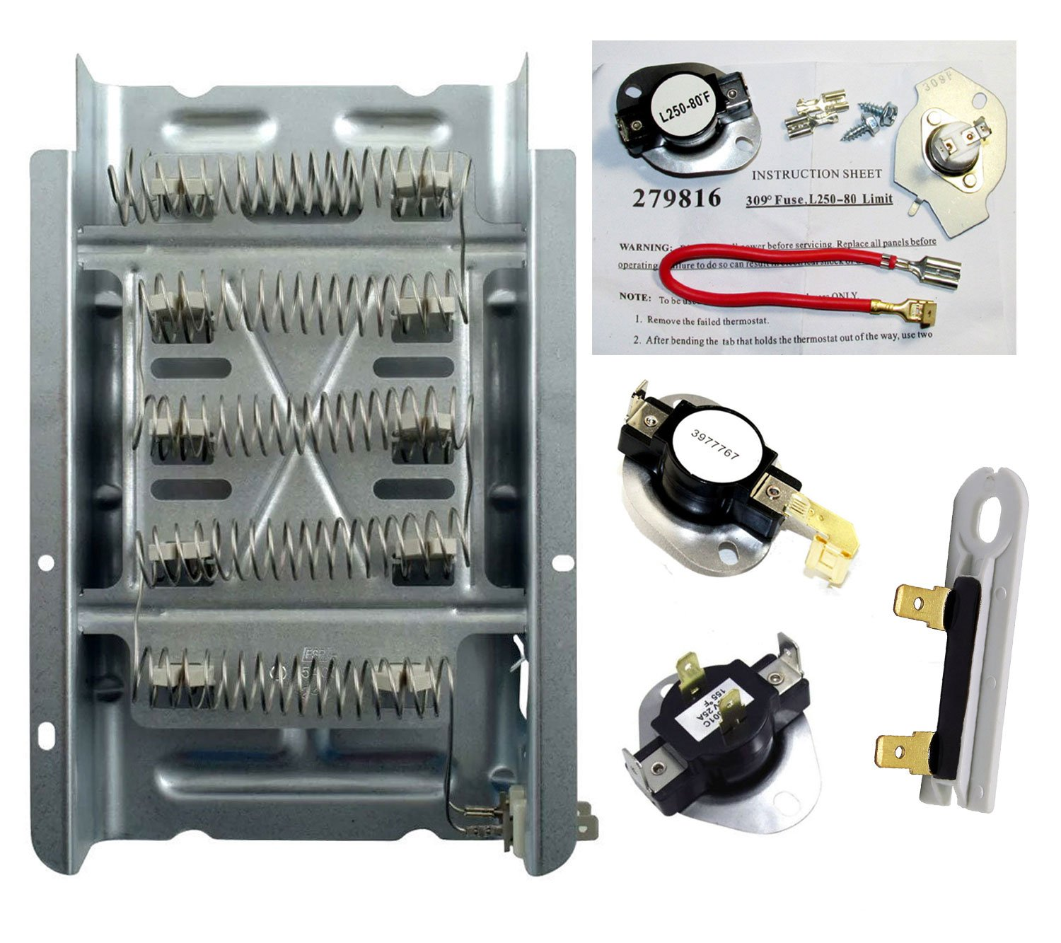 Dryer Heater Thermostat Fuse Kit That Works With Whirlpool WED4800BQ1