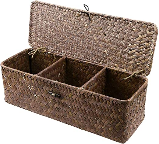 3 Grid Straw Woven Storage Box Basket Desktop Organizer with Cover