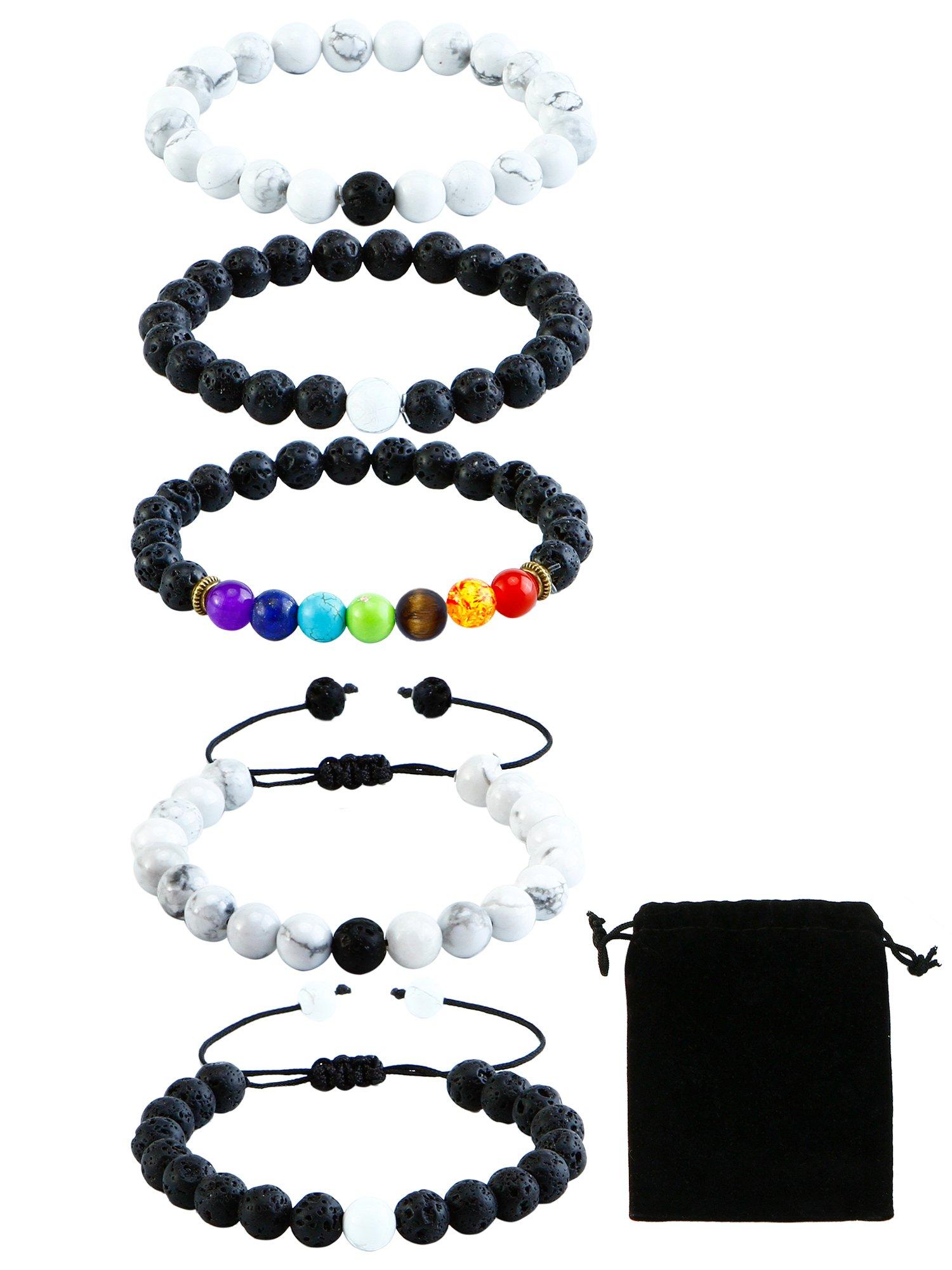 Coobey 5 Pieces Howlite Lava Rock Stones Bracelets Chakras Diffuser Essential Oil Diffuser Bracelets Natural Stones Yoga Beads Bracelet Bangle with Drawstring Bag for Couples