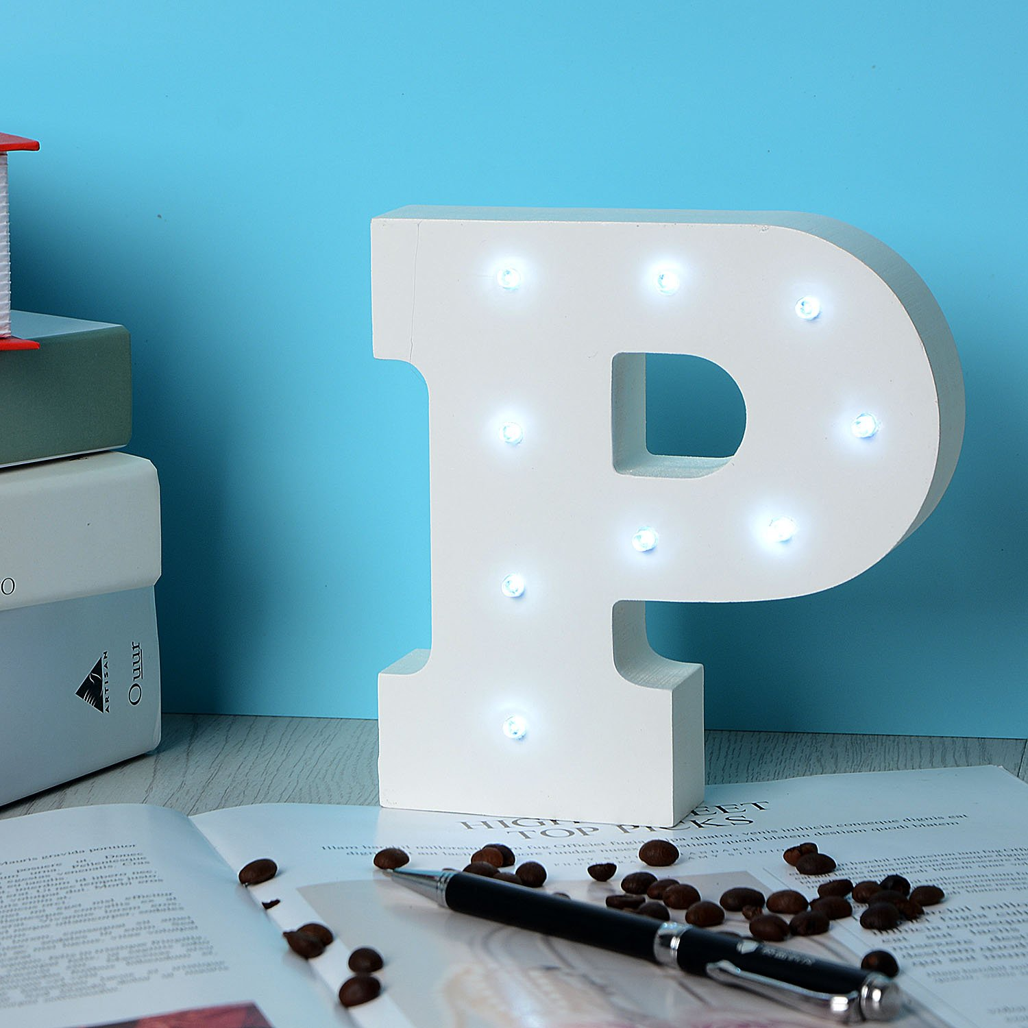 LED Wooden Letters Light Up Marquee Alphabet Night Decorative DIY White Letters Lights Sign with Battery Operated for Festival Party Wedding Holiday Birthday Christmas Valentine Room