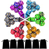 DND Dice Set, Polyhedral Dice Set with 6 Gold Pattern Drawstring Pouches, 6 Complete Double-Colors Dice Sets of D4 D6 D8 D10 D% D12 D20 are Great for Role Playing Game Dungeons and Dragons D&D Pathfinder Shadowrun and Math Teaching.