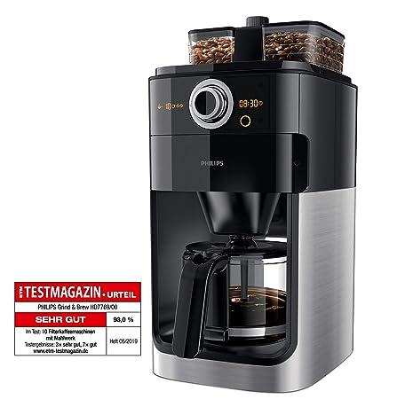 Philips Grind & Brew HD7769/00 - Cafetera (Independiente, Cafetera de filtro, 1,2 L, Molinillo integrado, 1000 W, Negro, Acero inoxidable)