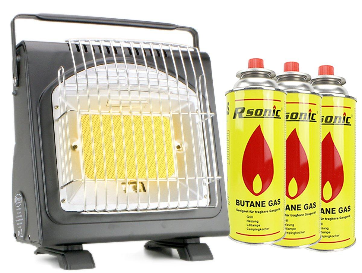 Camping Taller exterior Estufa gas calefacción y eléctrica Max. 1,7 Kw Gas Foco cerámica camping Hekers y de interfaz + 3 cartuchos de gas en Juego: ...
