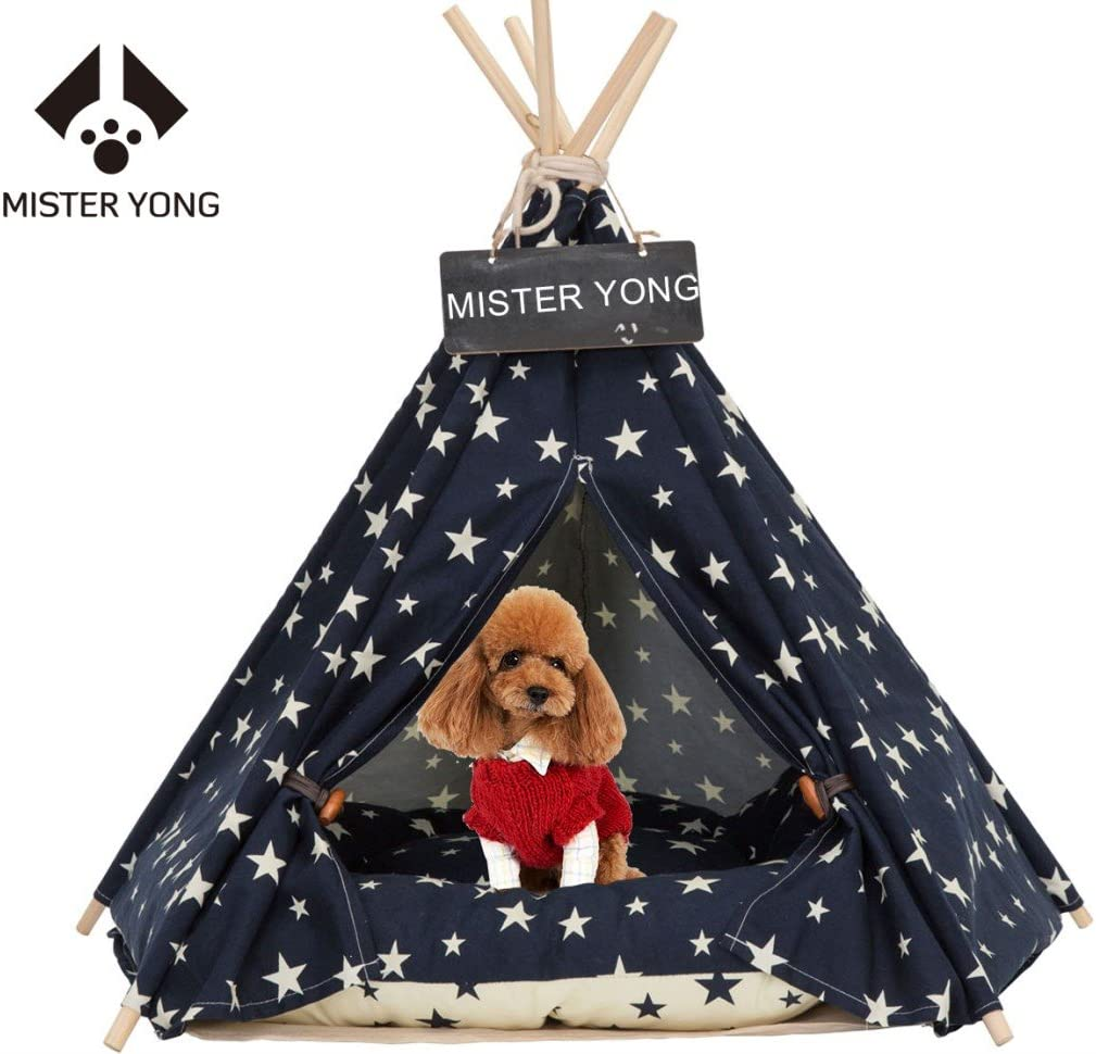 Yongs Pet Cat Dog Rabbit Teepee with Cushion,Portable Puppy Small Animals Bed Teepee Tent