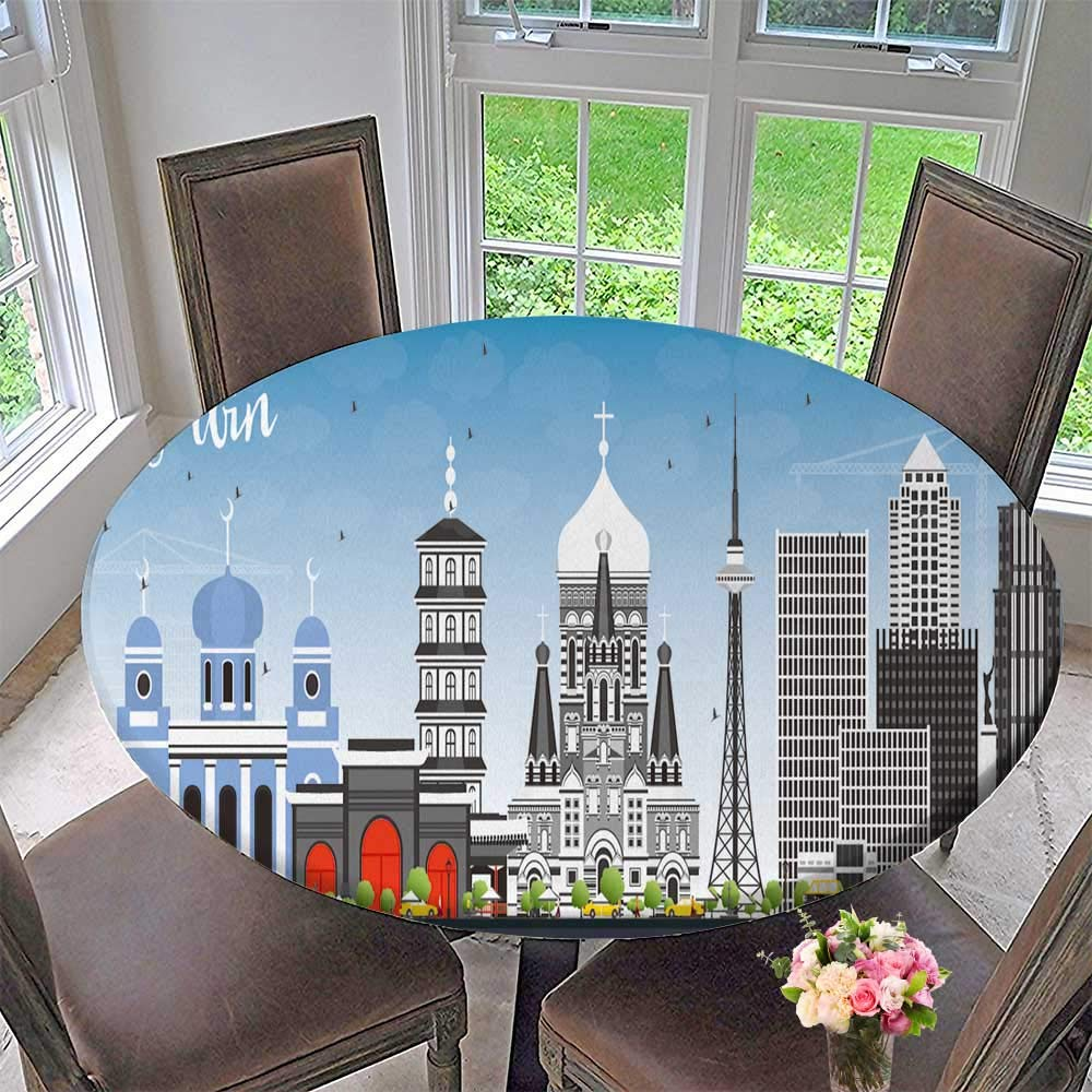 "PINAFORE HOME Modern Simple Round Tablecloth Harbin Skyline with Gray Builds and Blue Sky Vector Travel and Tourism Decoration Washable 59""-63"" Round (Elastic Edge)"