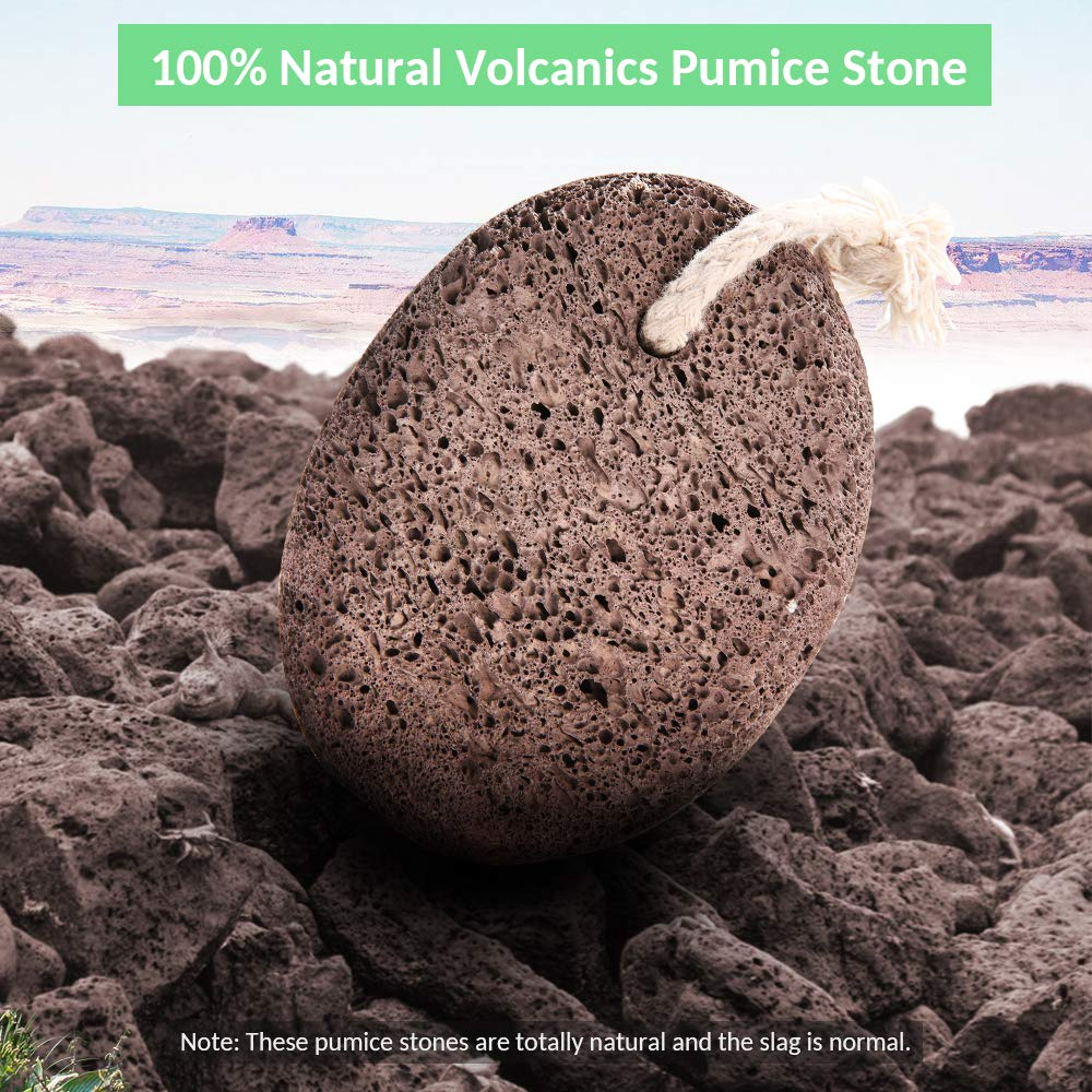 Natural Pumice Stone Foot Scrubber - Earth Volcanic Lava Pumice Stone Foot Exfoliater Callus Remover Exfoliating Rock for Feet Heel Hand Body Dead Skin Removal Home Pedicure Exfoliation Tool 2 in 1 by INCOK (Image #2)