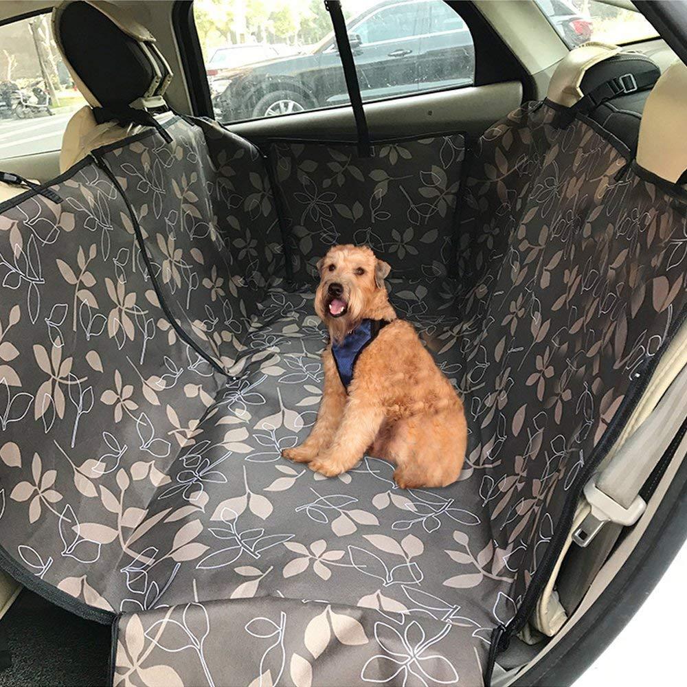 Dog Car Seat Cover Coffee Leaves Nylon Waterproof Cloth Pet Car Mat Backseat Hammock Design Nest Dual Purpose for Pets Dog