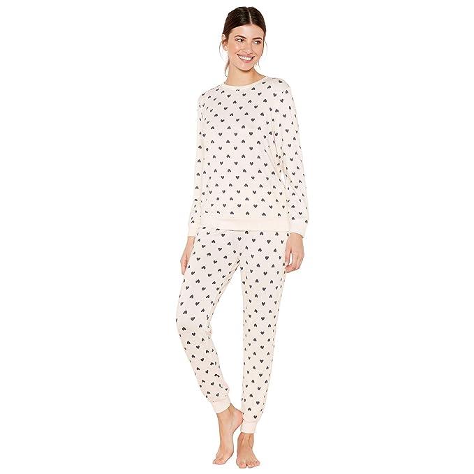 b240d52538 Lounge   Sleep Womens Pale Pink Heart Print Knitted Pyjama Set ...