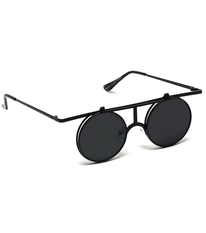 74651976d5 Amazon.com  Retro Sunglasses Full Metal Round Circle Mirrored Lens Flip Up  Lennon Inspired (Black Frame Black Lens