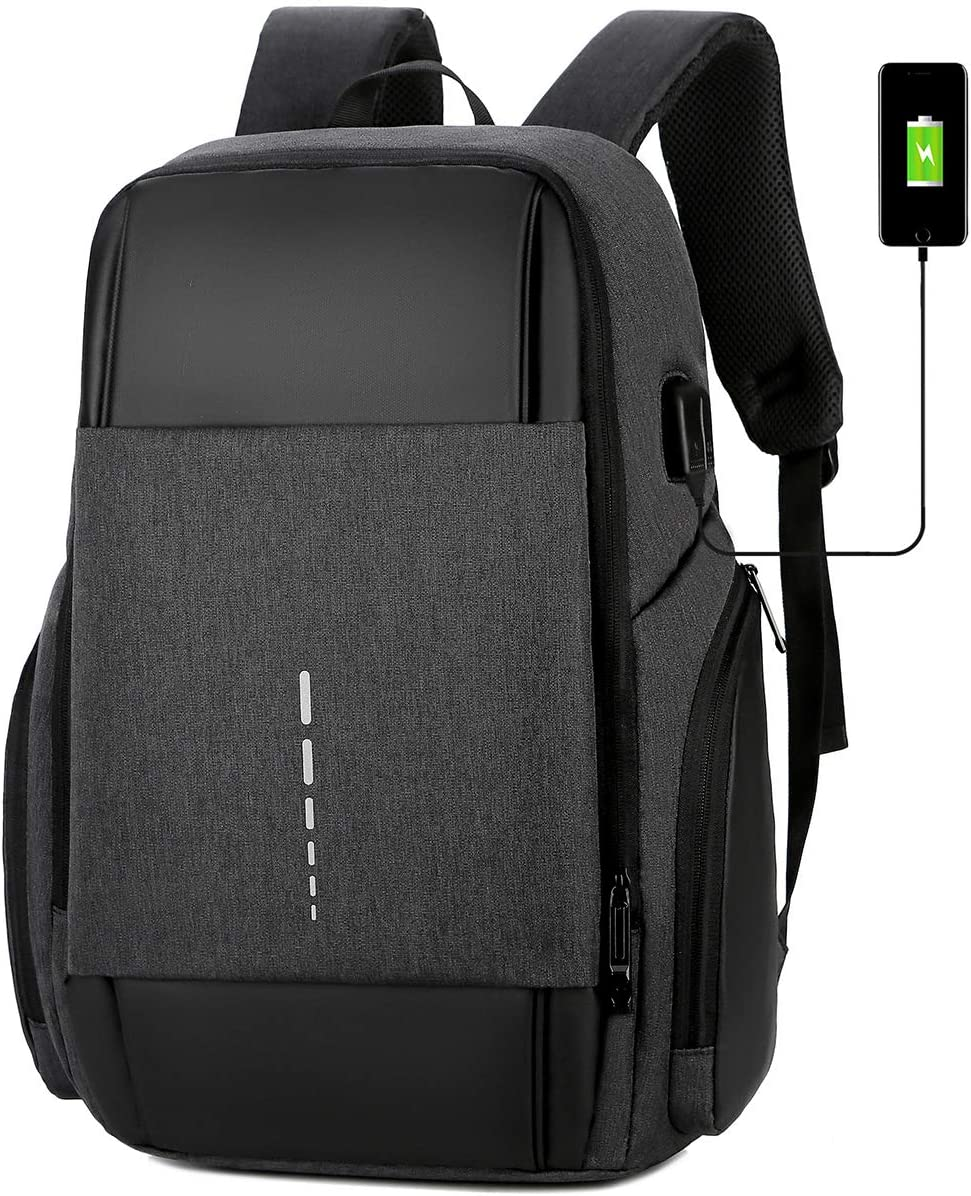 USB Port Charging Laptop Backpack Fits 17.3 Inch Laptop Durable Water Resistant Slim College School Computer Bag Travel Business Anti Theft Large Daypack for Women Men