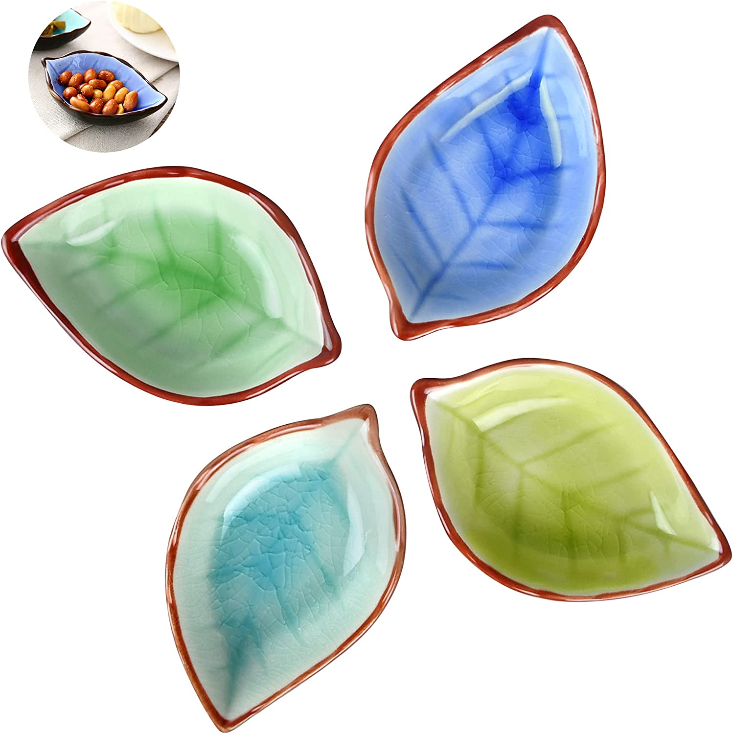 Worldity 4 Pack Assorted Color Ceramic Sauce Dishes Plates, Cute Leaf Shape Sauce Bowls Mini Tasting Dishes Dipping Bowls for Sushi Appetizer, Oil, Vinegar, Ketchup, Paste Jam
