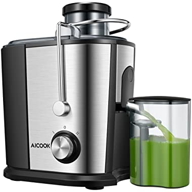 AICOOK Juicer Wide Mouth Juice Extractor, Juicer Machines BPA Free Compact Fruits & Vegetables Juicer, Dual Speed Centrifugal Juicer with Anti-drip Function, Stainless Steel Juicers Easy to Clean