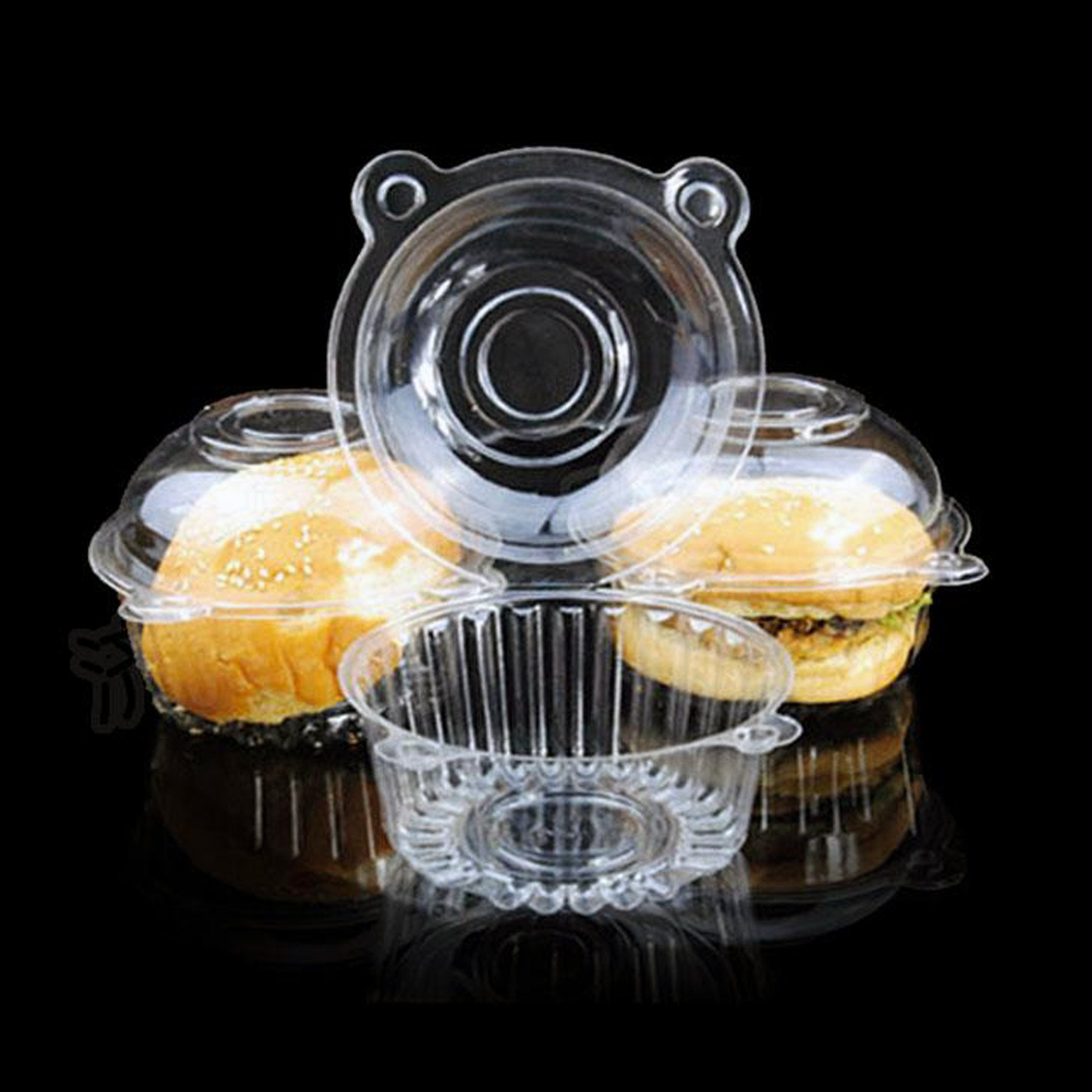 100pcs Clear Plastic Cupcake Cake Muffin Case Dome Holder Box Container by IDS (Image #4)