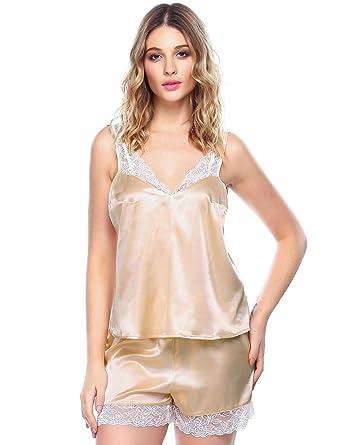 4d717efc9d FAENO FANEO Women Satin Pajamas Set Lace Trim Cami and Shorts PJS Sleepwear  S-XXL