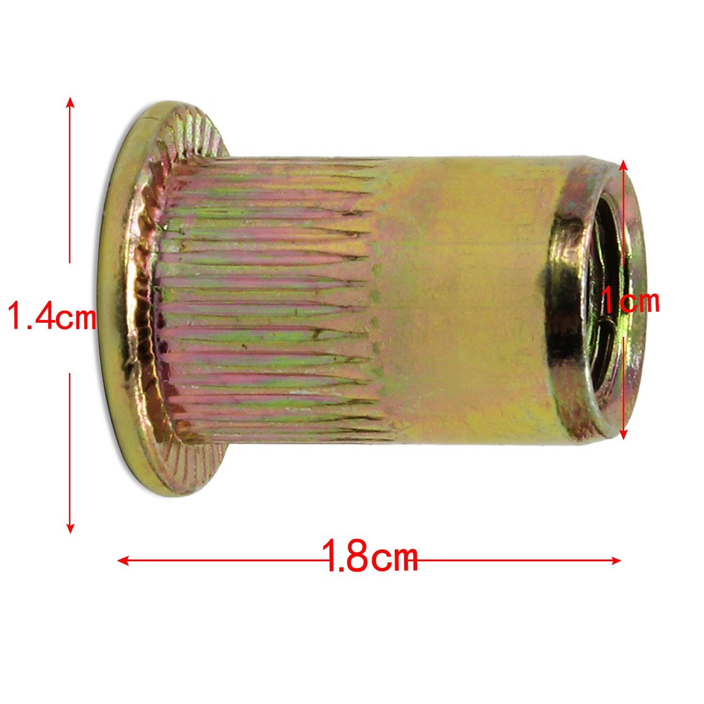 rosca plana Remaches de tuerca chapados en acero de carbono M8 50/unidades