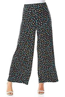 Womens Polka Dot Wide Leg Palazzo Ladies Full Length Elasticated Casual Trouser