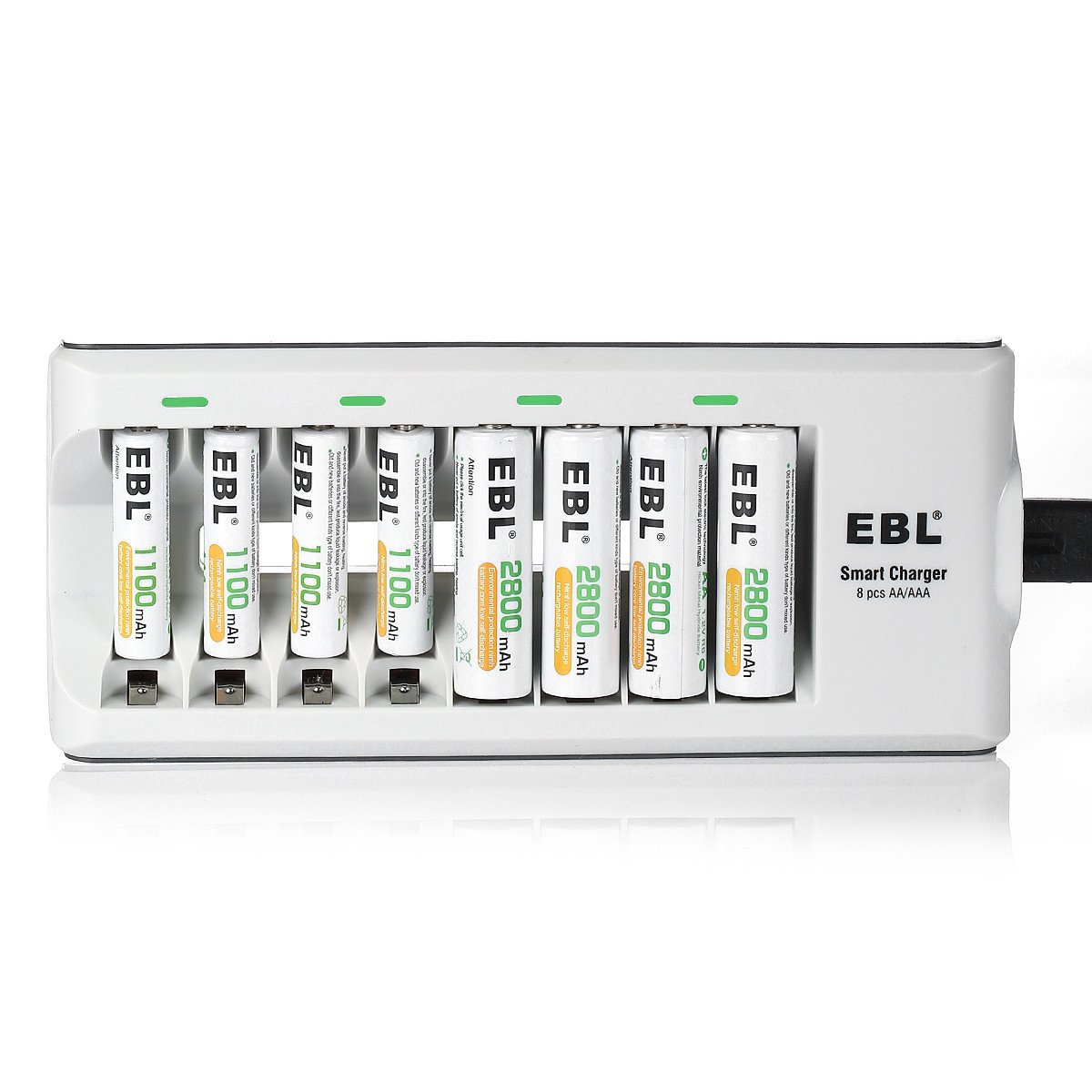 EBL Batteries with Charger, 808 AA AAA Battery Charger with 2800mAh AA Rechargeable Batteries (4 Pack) and 1100mAh AAA Rechargeable Batteries (4 Pack)
