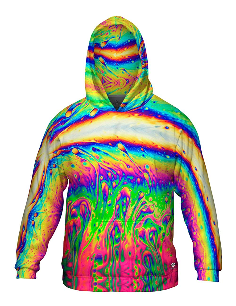 Yizzam Mens Hoodie Sweater Allover Print Neon Soap Rising