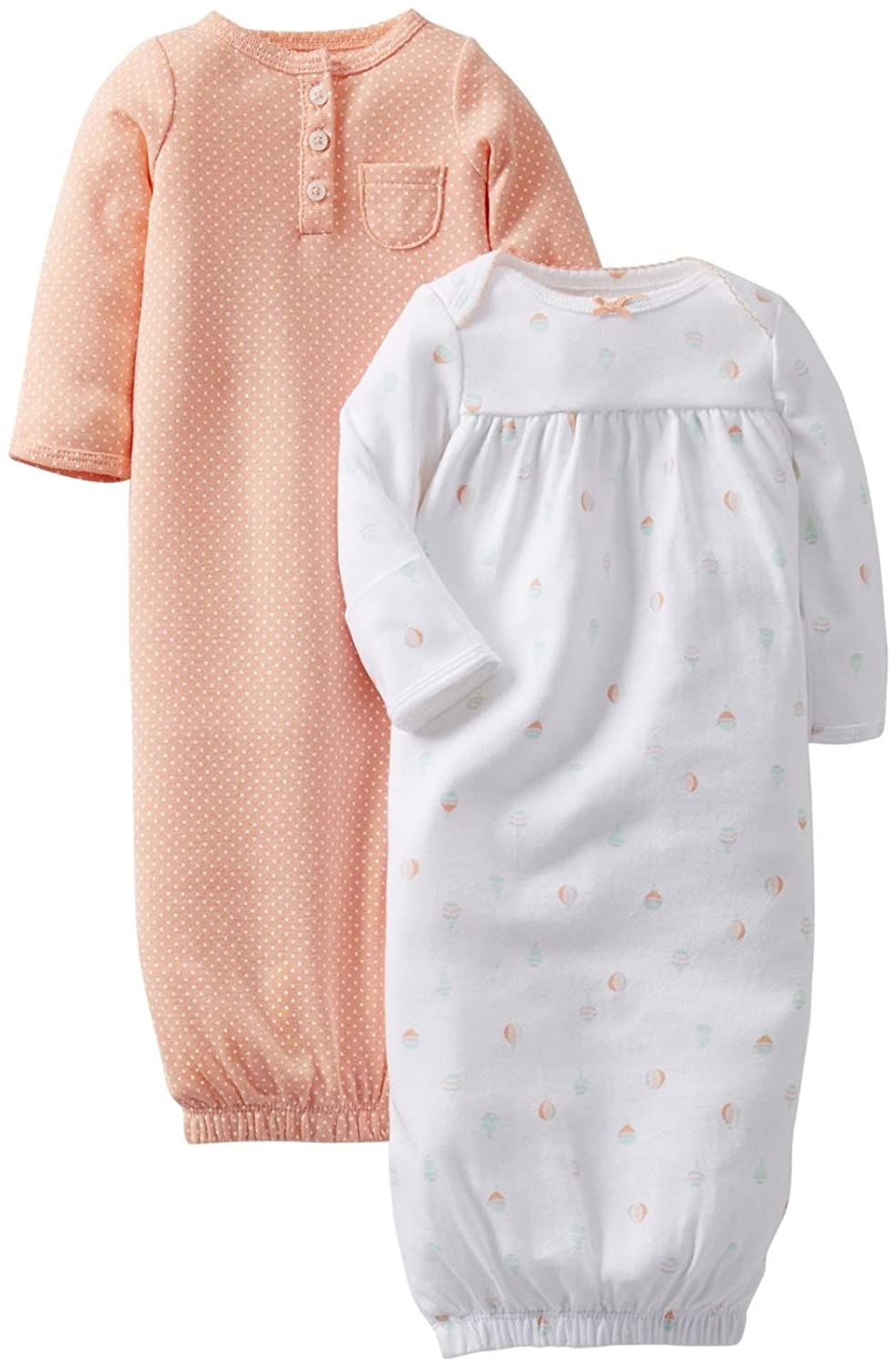 Amazon.com: Carter\'s Baby Girls\' 2 Pack Gowns (Baby) - White/Pink ...