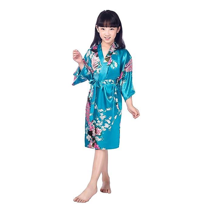 CuteOn Niños Niñas Kimono Satén de seda Soft Blossom Peacock Albornoces Pijamas para los Niños Vestido