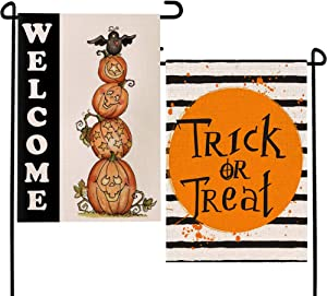 DUDOU Halloween Trick or Treat Burlap Flag Garden Sewn Black Pumpkin Crow Raven Welcome Yard Home Outdoor Decoration 12.5 x 18 Inches