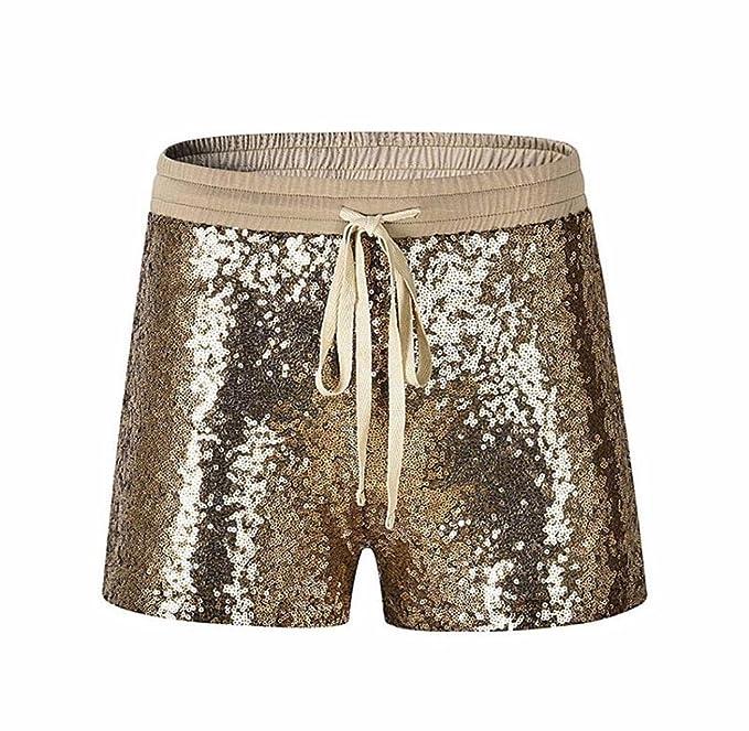 55446ae17844 Tomatoa Damen Kurz Mode Frauen Pailletten Shorts Mid Taille Sexy Shorts  Kausale Hot Pants Sommer Kurze