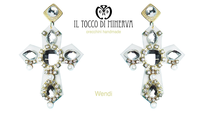 Blanco pendientes transversales de Swarovski Wendi hecho a mano Made in Italy