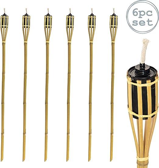 Harbour Housewares 6 Piezas de bambú Jardín Antorcha Tiki Set - 114cm Estilo Aceite de parafina antorchas Tradicionales - Naturales: Amazon.es: Hogar