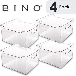 BINO Clear Plastic Storage Bin with Handles - Plastic Storage Bins for Kitchen, Cabinet, and Pantry Organization And Storage - Home Organizers And Storage - Refrigerator and Freezer Organizer Bins