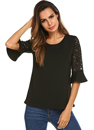 2f23318be917b6 Meaneor Women s 3 4 Lace Bell Sleeve Round Neck Solid Summer T-Shirt ...